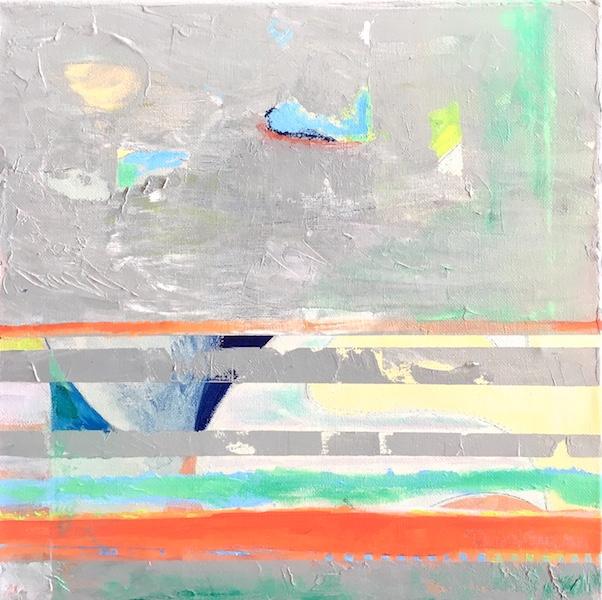 SHORELINES by Rhonda Garland - 12 x 12 in., acrylic on birch panel • $1500