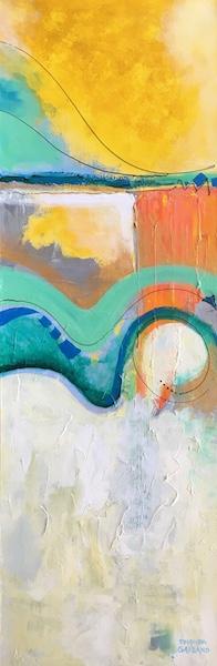 UNDER THE BRIDGE by Rhonda Garland - 36 x 12 in., acrylic on canvas • $3,000