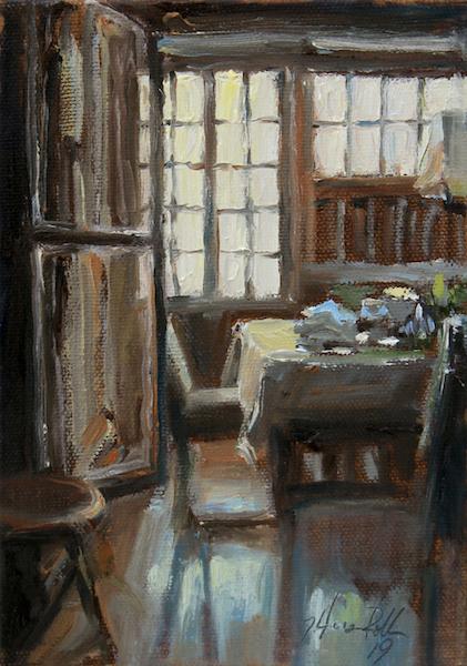 DINING HAZE by Jennifer Hansen Rolli - 7 X 5 in., o/c • SOLD