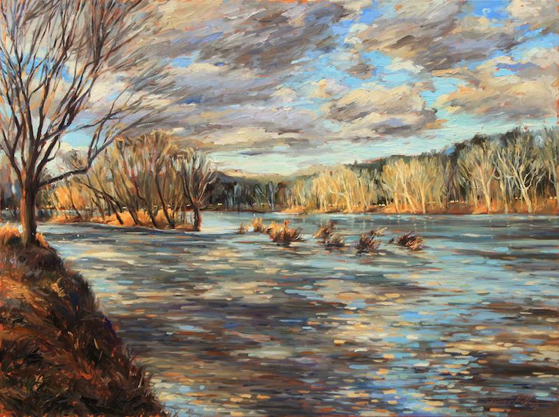 RIVER IN BLUES by Jennifer Hansen Rolli - 30 X 40 in., o/c • SOLD