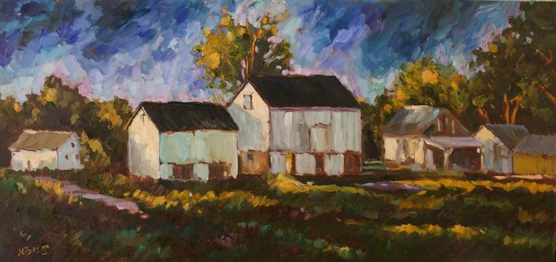 PATTERSON FARM NIGHTFALL by Jean Childs Buzgo - 15 x 31 in., o/b • $3,500