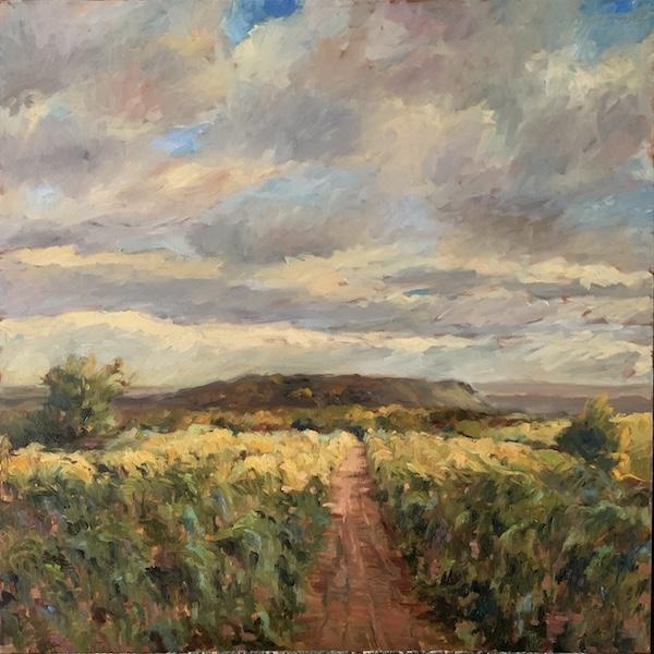 A plein air beauty: FOOTHILLS ABOVE ERWINNA by Jennifer Hansen Rolli 30 x 30 in., o/c • $5,400