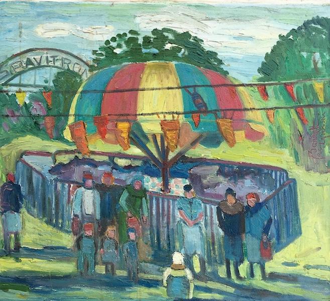 MIDWAY CARNIVAL by Joseph Barrett - 16 x 18 in., o/l • $5,250