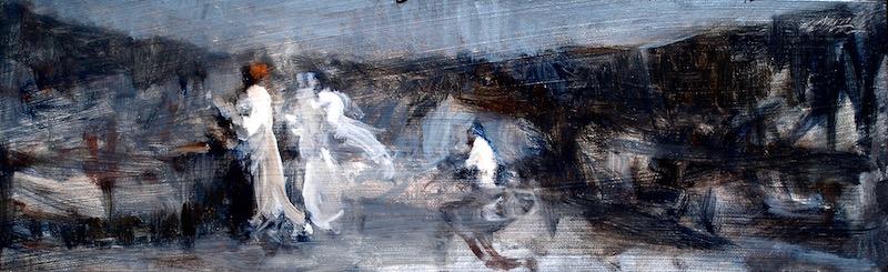 DAYDREAM by David Stier - 4.25 x 14.75 in., oil on museum board • SOLD