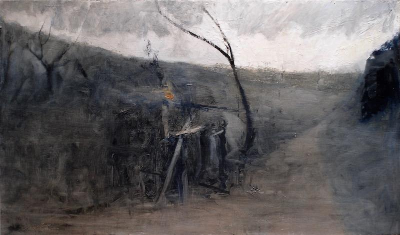 DREAM OF SMOKE & FIRE by David Stier - 18 x 30.5 in., oil on birch panel • SOLD