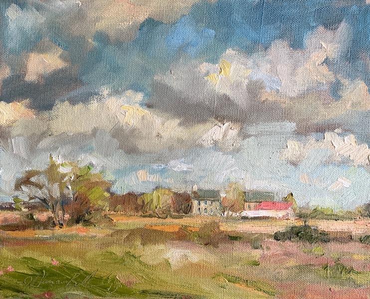 FARM IN SPRING by Jennifer Hansen Rolli - 8 x 10 in., oil on linen • $1,900