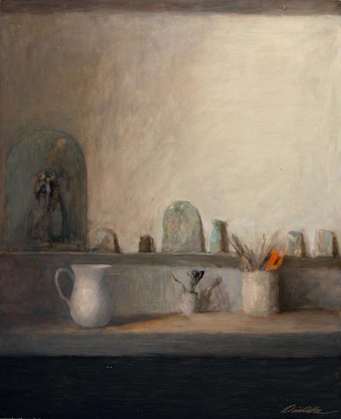 STUDIO IN NORTH LIGHT by David Stier - 30.5 x 25 in., o/b • $5,200 (in custom David Madary frame)