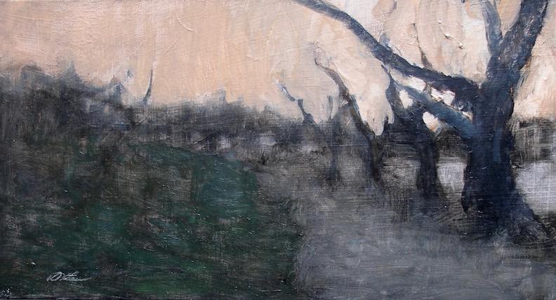TREE LINE by David Stier - 5.5 x 10 in., oil on museum board on birch panel • SOLD