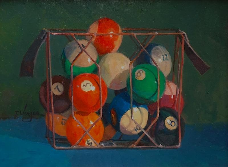 8 BALL IN THE CORNER by Trisha Vergis - 12 x 16 in., o/cb • $2,400