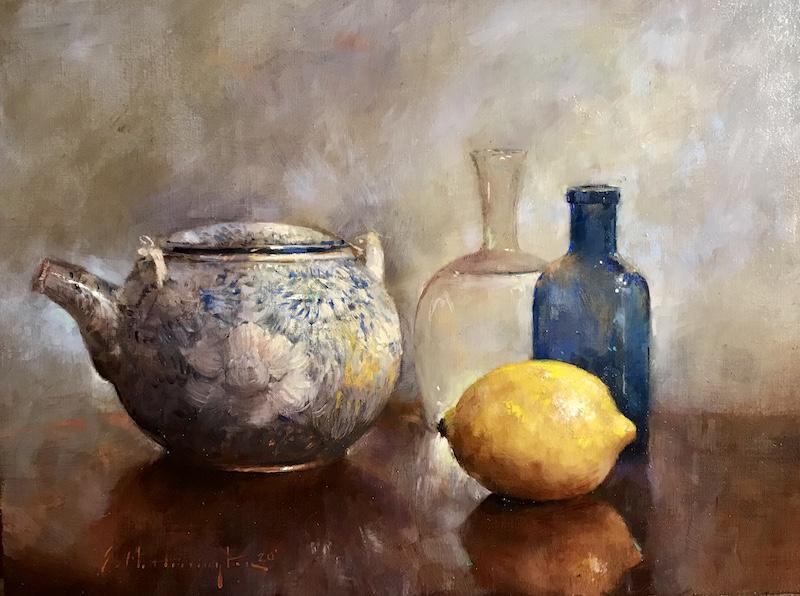 COBALT & LEMON by Evan Harrington - 9 x 12 in., o/lb • SOLD