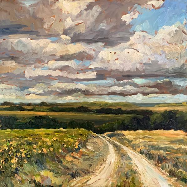 ROAD TO COAST II by Jennifer Hansen Rolli - 36 x 36 in., oil on canvas • SOLD