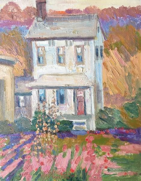 HOUSE IN LAMBERTVILLE by Joseph Barrett - 14 x 11 in., o/cb • SOLD