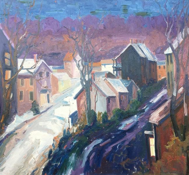 END OF STREET, LAMBERTVILLE by Joseph Barrett - 24 x 26 in., o/c • SOLD