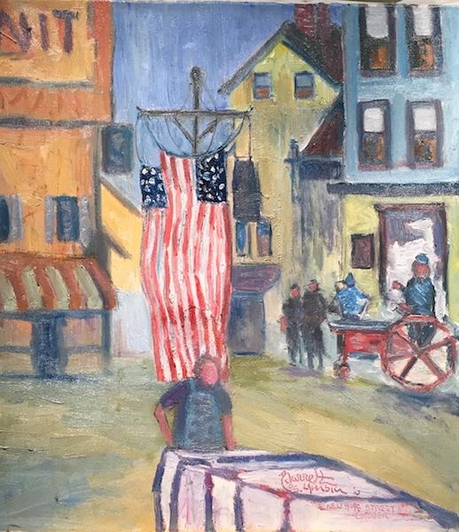 NEW HOPE STREET CORNER by Joseph Barrett - 20 x 18 in., o/c • $6,000