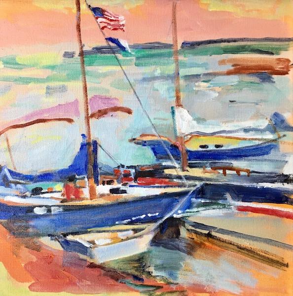 NESHAMINY MARINA by Anita Shrager - 12 x 12 in., o/c • $2,200 in custom David Madary frame