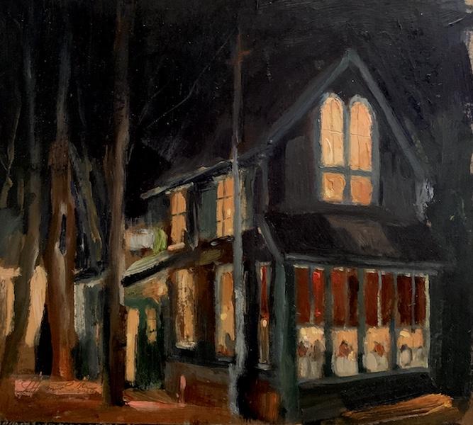 BOATHOUSE AGLOW by Jennifer Hansen Rolli - 8 x 9 in., o/b • SOLD