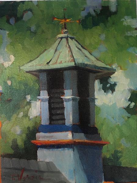 CUPOLA IN STOCKTON by Trisha Vergis - 8 x 6 in., o/cb • $800