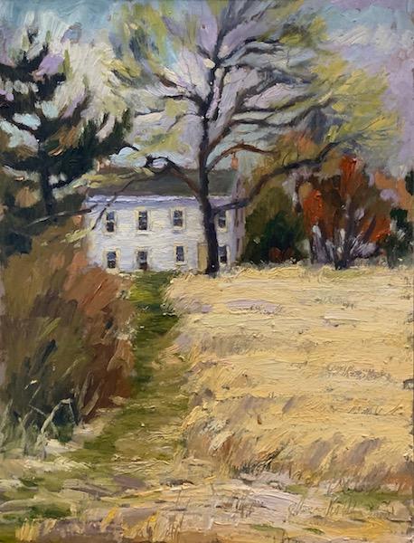 LITTLE WHITE FARMHOUSE by Jennifer Hansen Rolli - 12 x 9 in., o/b • SOLD