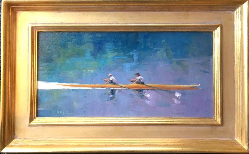 TWO MAN CREW by Trisha Vergis - 8 x 16 in., o/c, in custom David Madary frame • SOLD