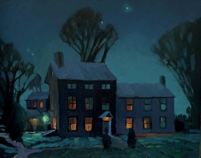 CARVERSVILLE AUTUMN NIGHT by Trisha Vergis - 16 x 20 in., o/c • SOLD