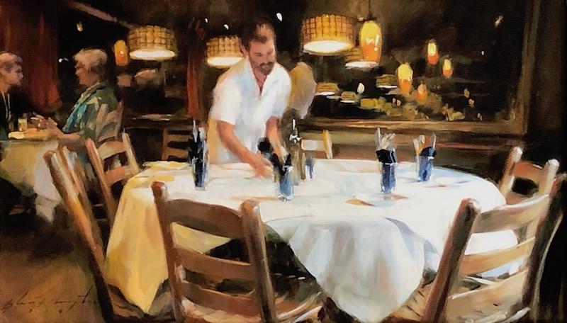 SETTING THE TABLE by Glenn Harrington - 9 x 16 in., oil on linen on board • $3,900