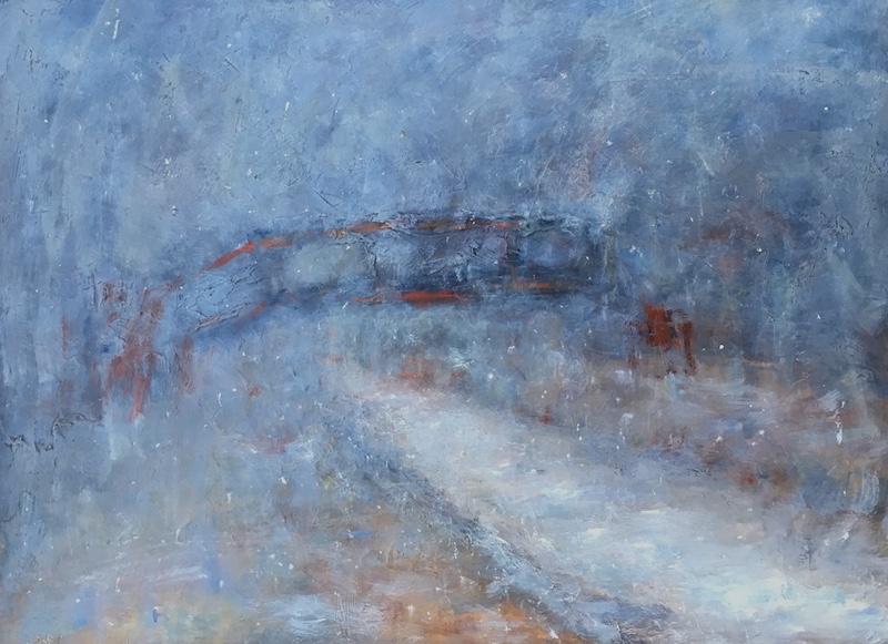 CANAL BRIDGE by Desmond McRory - 18 x 24 in., oil on board • $2,500