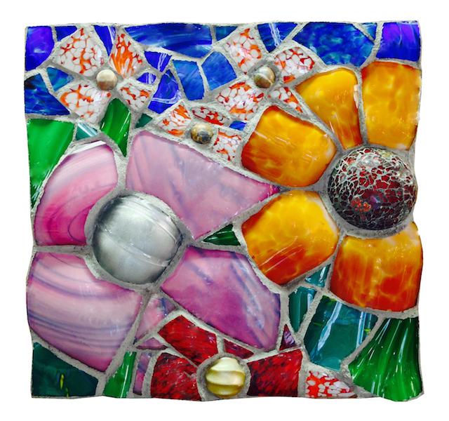 NATURE STUDY VIII BY Jonathan Mandell - 18 x 18 x 3 inches, glass shard mosaic • $2,000