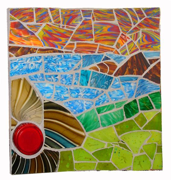 BEACH LANDSCAPE by Jonathan Mandell - 18 x 18 x 3 in., glass shard mosaic • $2,000