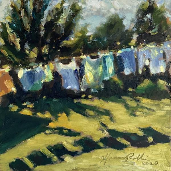 SUMMER BLUES by Jennifer Hansen Rolli - 6 x 6 in., o/b • SOLD