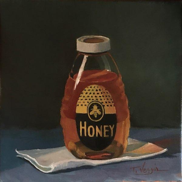 So sweet! . . . BEE MAGIC by Trisha Vergis - 10 x 10 in., o/c • SOLD