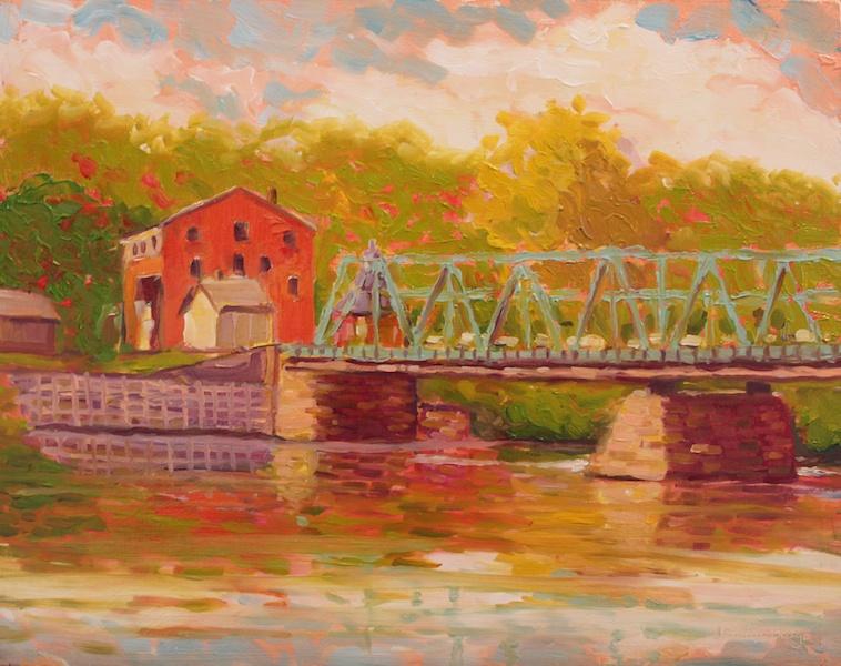 NEW HOPE LAMBERTVILLE BRIDGE I by Jean Childs Buzgo - 8 x 10 in., o/b • $1,000