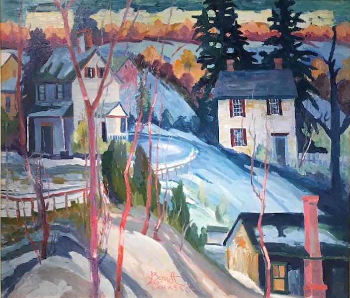 Found a good home in New Hope: SUNSET NEAR WINDY BUSH by Joseph Barrett - 26 x 30 in., o/c • SOLD