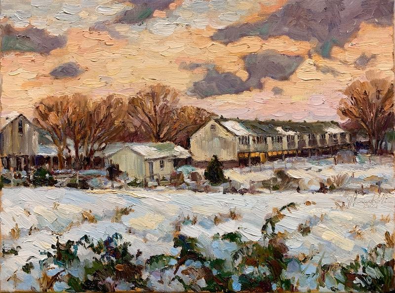 DAYS END, PINEVILLE by Jennifer Hansen Rolli - 12 x 16 in,. o/c • $3,400