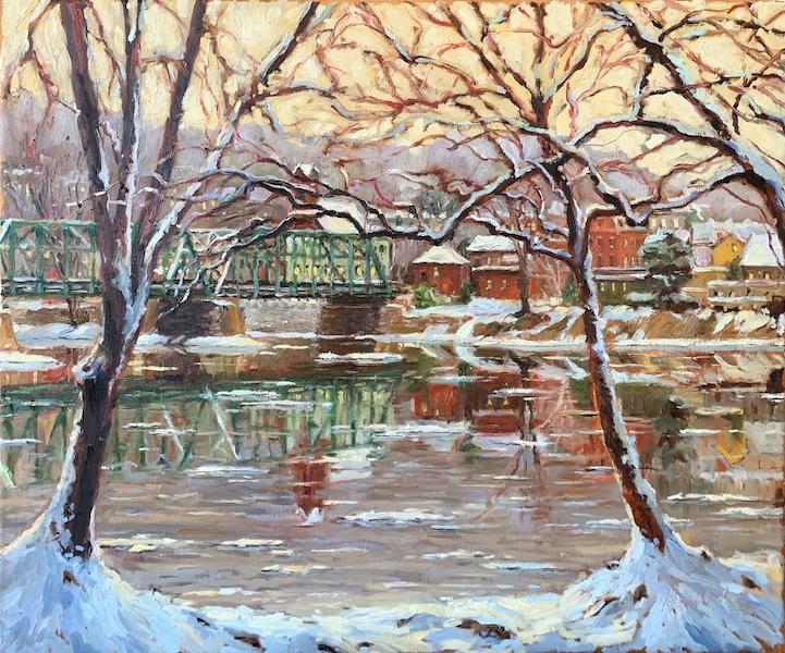 FEBRUARY TWILIGHT, NEW HOPE by Jennifer Hansen Rolli - 20 x 24 in., o/c • $6,200