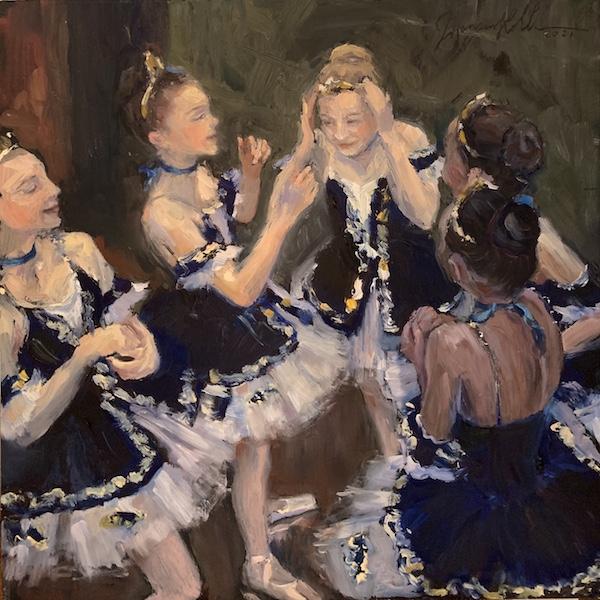 FIVE DANCERS by Jennifer Hansen Rolli - 10 sq. in., o/b • $3,300