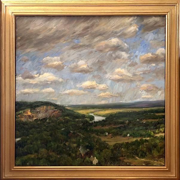 VALLEY BELOW AUGUST SKIES by Jennifer Hansen Rolli - 36 x 36 in., oil on linen • shown in custom Madary frame • $8,500