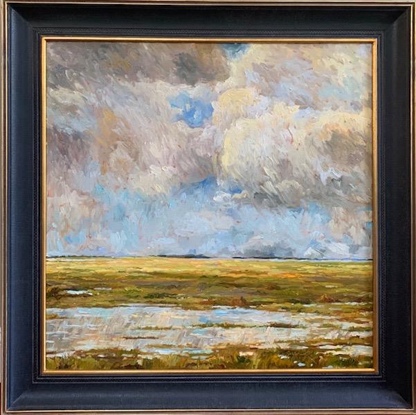 STORMY MARSH by Jennifer Hansen Rolli - 30 x 30 in., oil on canvas, in custom Dave Madary frame • $7,500